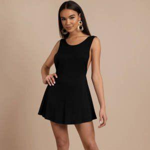 Tobi Claudia Black Ribbed Shift Dress